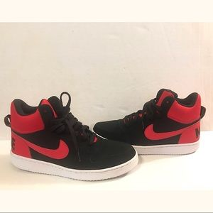 Black and Red Mid Top Nike Men 9.5